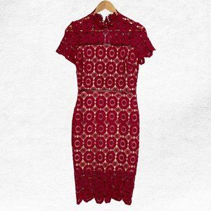 Just Me Small Cocktail Party Red Lace Dress